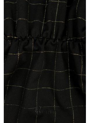 Fekete színű ruha, aranysárga színű kockás mintával