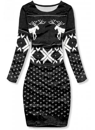 Fekete színű bársony ruha, karácsonyi motívummal