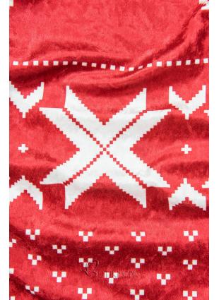 Piros színű bársony ruha, karácsonyi motívummal