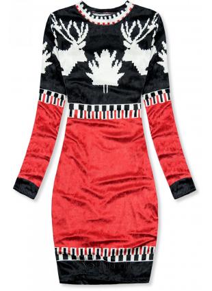 Kék és piros színű bársony karácsonyi ruha