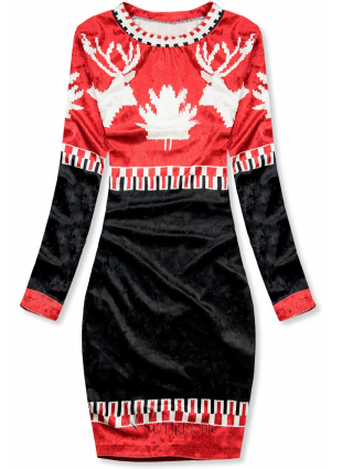 Piros és kék színű bársony karácsonyi ruha