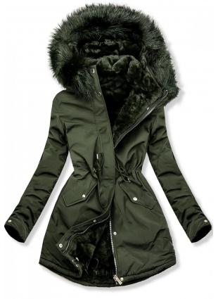 Khaki színű téli parka zöld színű plüssel