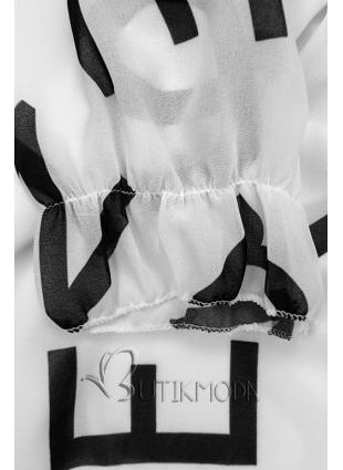 Fehér színű midi ruha, betűs nyomott mintával