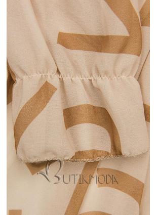 Bézs színű midi ruha, betűs nyomott mintával