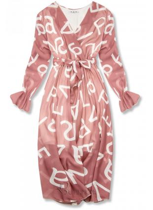 Világosrózsaszínű midi ruha, betűs nyomott mintával