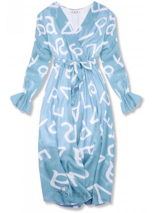 Világoskék színű midi ruha, betűs nyomott mintával
