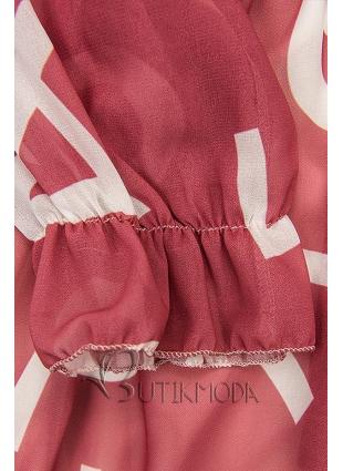 Sötétrózsaszínű midi ruha, betűs nyomott mintával