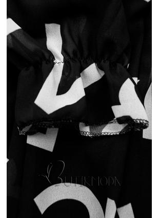 Fekete színű midi ruha, betűs nyomott mintával