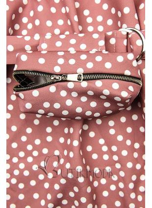 Vintage rózsaszínű pöttyös ruha, derekán övtáskával
