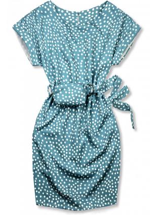 Kék színű pöttyös ruha, derekán övtáskával
