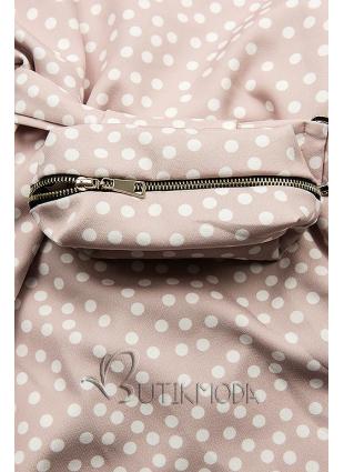 Rózsaszínű pöttyös ruha, derekán övtáskával