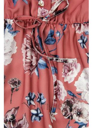 Virágmintás midi ruha - téglavörös színű