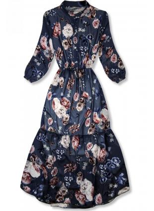 Virágmintás midi ruha - sötétkék színű