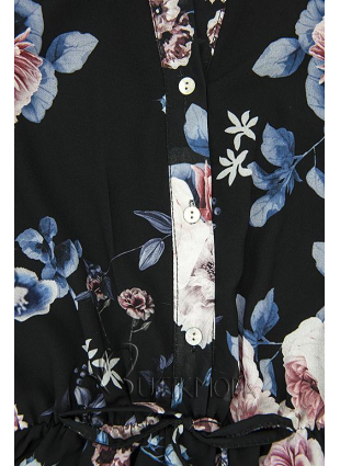 Virágmintás midi ruha - fekete színű