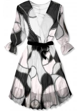 Mintás midi ruha - fekete és fehér színű
