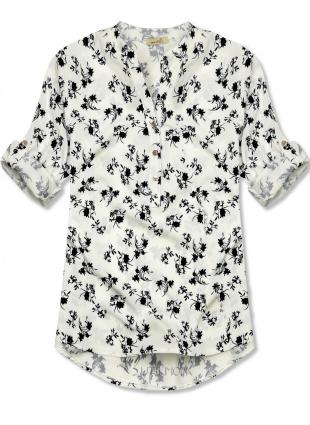 Fehér és fekete színű virágmintás ing