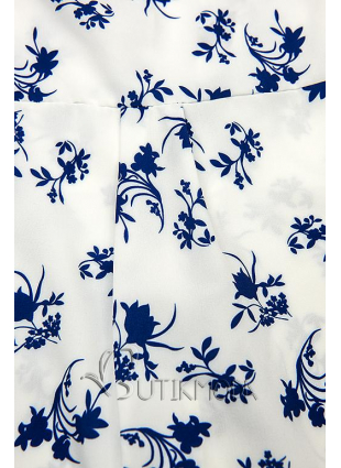 Fehér és kék színű virágmintás ing