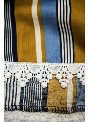 Khaki és kék színű sort csipkével