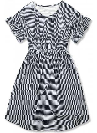 Kék és fehér színű, bő szabású csíkos ruha IV.