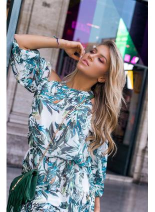 Zöld és kék színű virágmintás ruha Laura/O'la Voga