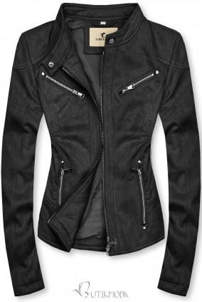 Feketeszínű szarvasbőr hatású dzseki