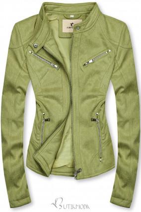 Pisztáciazöld színű szarvasbőr hatású dzseki