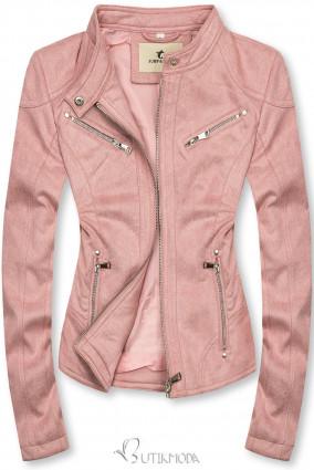 Rózsaszínű szarvasbőr hatású dzseki