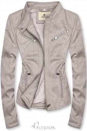 Szürke színű szarvasbőr hatású dzseki