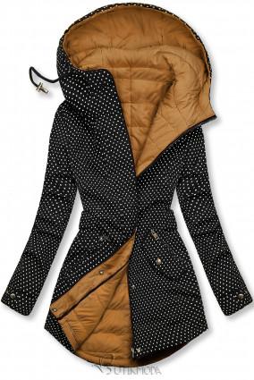 Fekete és karamellszínű pöttyös kifordítható kabát