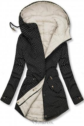 Fekete és ekrü színű pöttyös kifordítható kabát