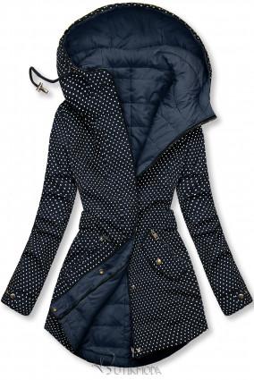 Sötétkék színű pöttyös kifordítható kabát
