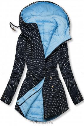 Sötétkék és babakék színű pöttyös kifordítható kabát