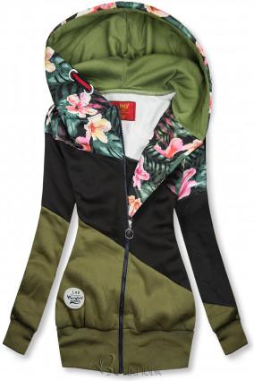 Khaki és fekete színű virágmintás felső