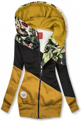 Mustársárga és fekete színű virágmintás felső