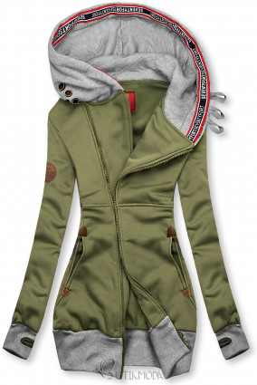 Hosszított felső kapucnival - khaki és szürke színű