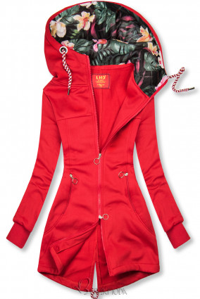 Piros színű hosszított felső színes béléssel