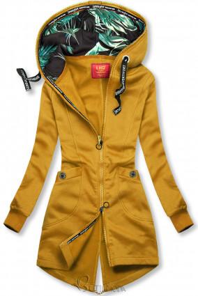 Mustársárga színű felső mintás kapucnival