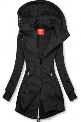 Fekete színű hosszított felső steppelt kapucnival
