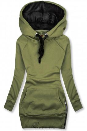 Khaki színű felső bársony kapucnival