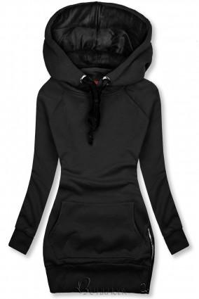 Fekete színű felső bársony kapucnival