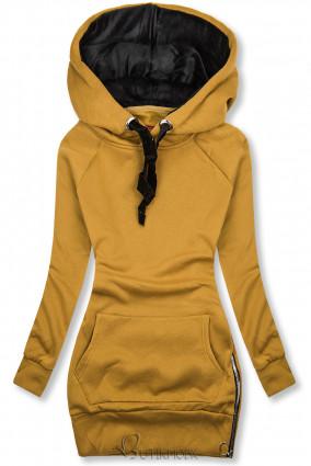 Mustársárga színű felső bársony kapucnival