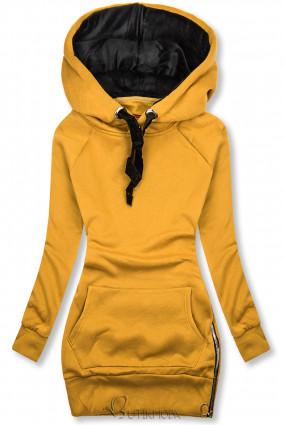 Sárga színű felső bársony kapucnival
