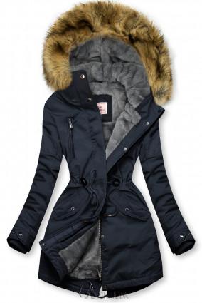 Meleg téli parka - sötétkék és szürke színű