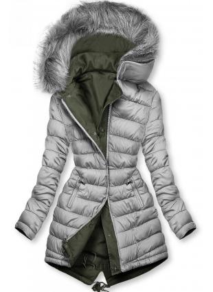 Khaki és szürke színű kifordítható téli parka