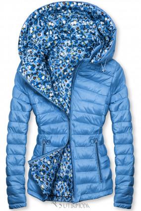 Kék színű kifordítható dzseki virágmintás belső résszel