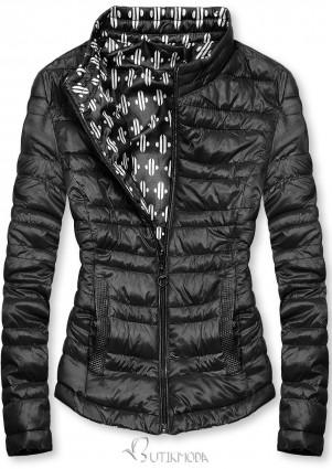 Fekete színű rövid kifordítható dzseki