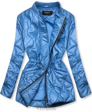 Kék színű kapucni nélküli steppelt dzseki