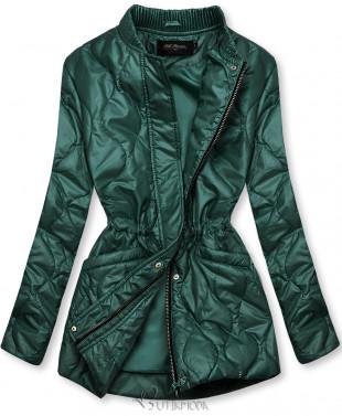 Zöld színű kapucni nélküli steppelt dzseki