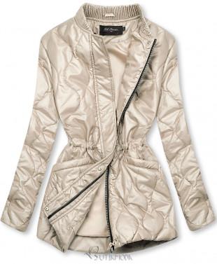 Bézs színű kapucni nélküli steppelt dzseki
