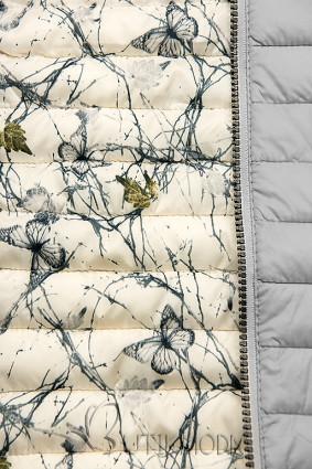 Világosszürke színű steppelt dzseki mintás béléssel